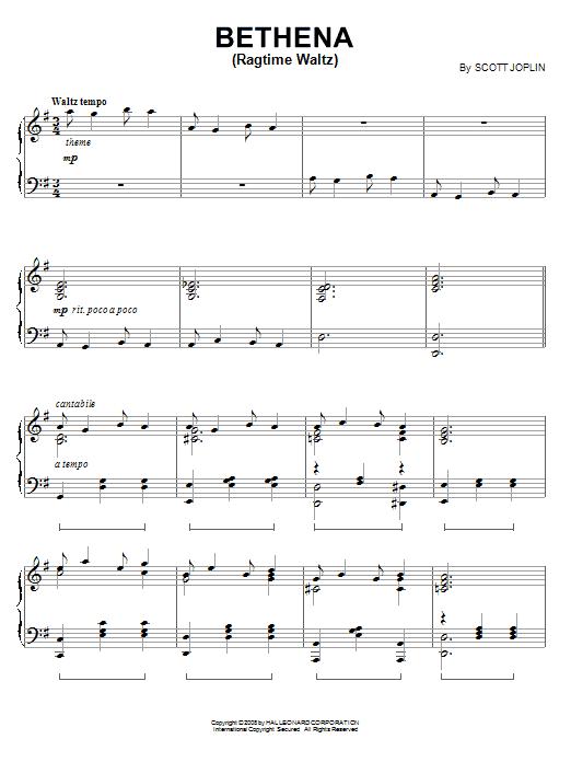 Bethena (Ragtime Waltz) (Piano Solo)