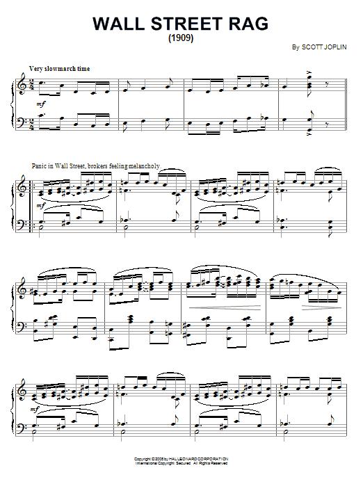 Partition piano Wall Street Rag (1909) de Scott Joplin - Piano Solo