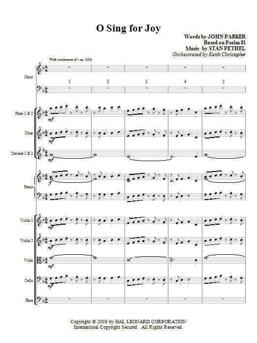 O Sing For Joy! (COMPLETE) sheet music for orchestra/band (chamber ensemble) by Stan Pethel and John Parker. Score Image Preview.