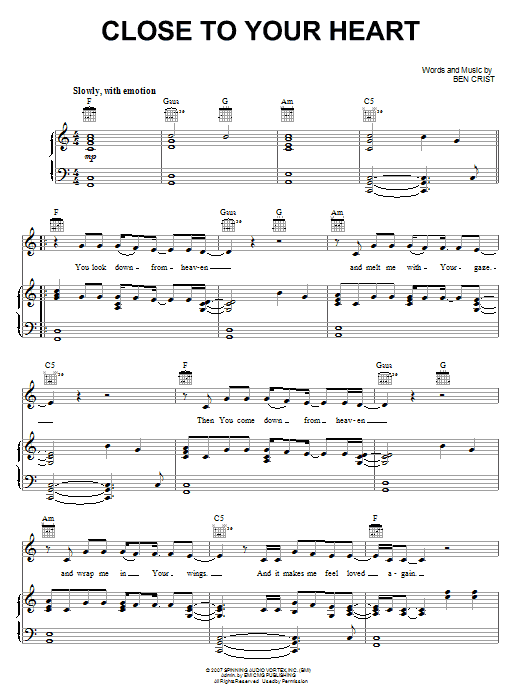 Close To Your Heart (Piano, Vocal & Guitar (Right-Hand Melody))