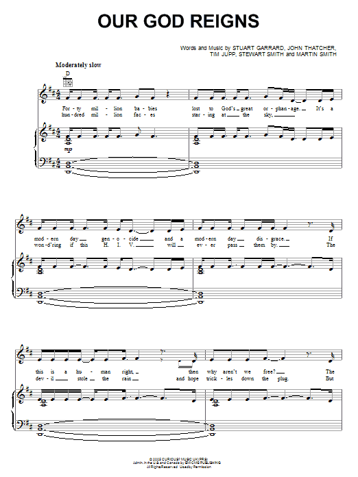Our God Reigns (Piano, Vocal & Guitar (Right-Hand Melody))