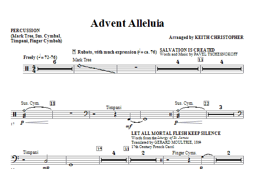 Advent Alleluia - Percussion Sheet Music