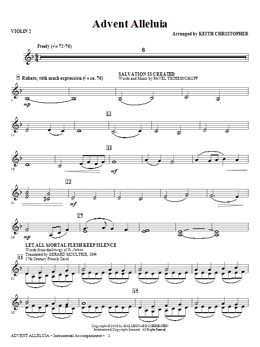 Advent Alleluia - Violin 2 (Choir Instrumental Pak)