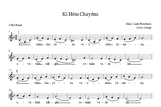 Ki Hem Khayenu Sheet Music