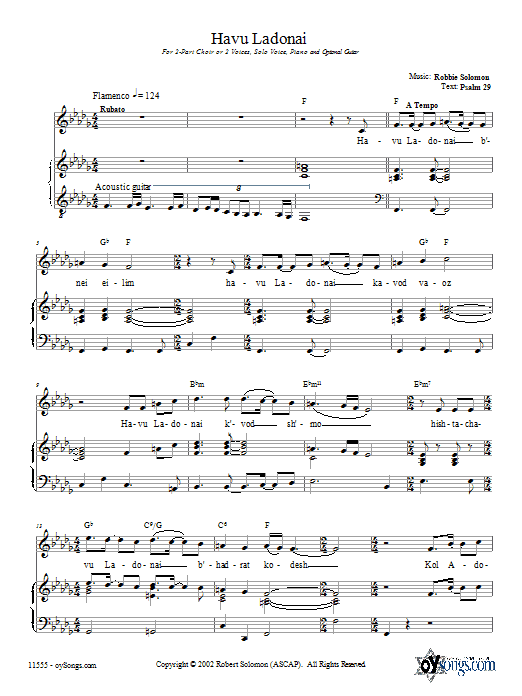 Havu Ladonai Sheet Music