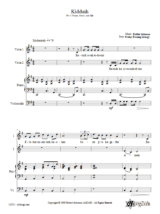 Kiddush Sheet Music