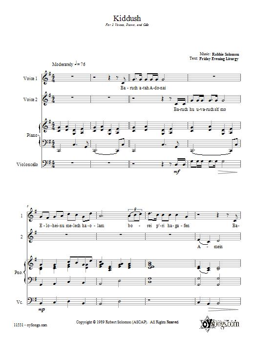 Partition chorale Kiddush de Robbie Solomon - 2 voix