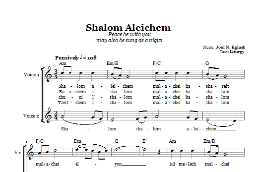 Shalom Aleichem (Peace Be With You) (2-Part Choir)