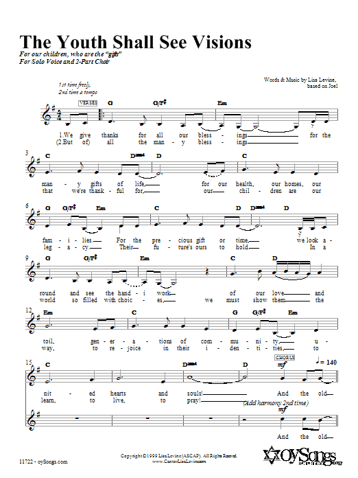 The Youth Shall See Visions Sheet Music