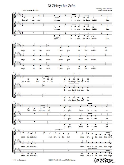 Di Ziskayt fun Zaftn (3-Part Mixed Choir)