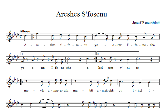 Areshes S'fosenu Sheet Music