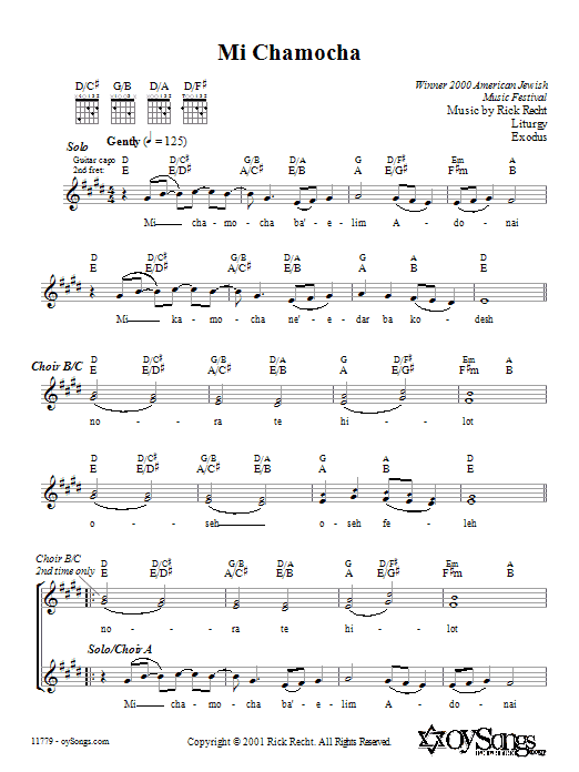 Mi Chamocha Sheet Music
