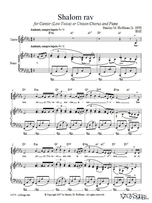 Shalom Rav (Unison Choir)