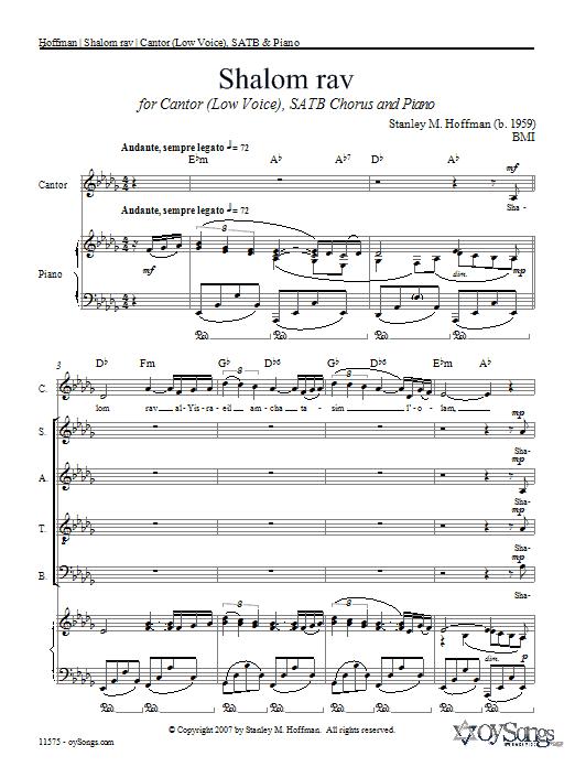 Partition chorale Shalom Rav de Stanley Hoffman - SATB
