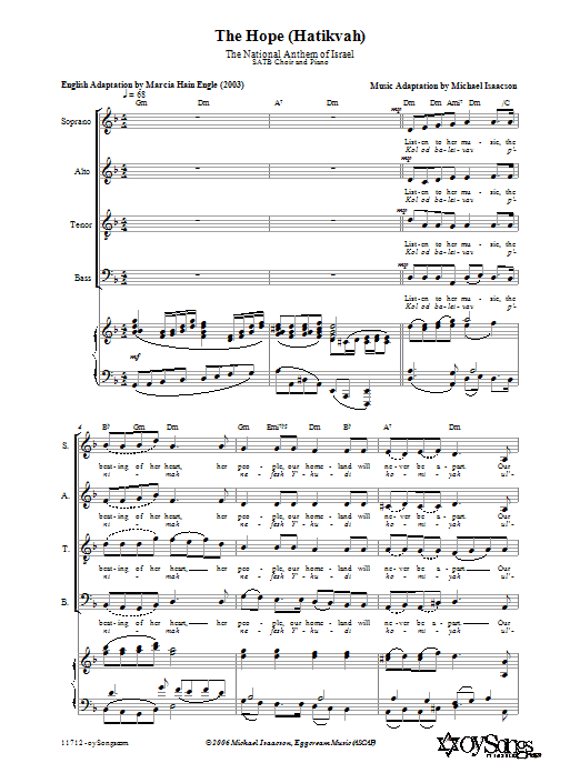 The Hope (Hatikvah) Sheet Music
