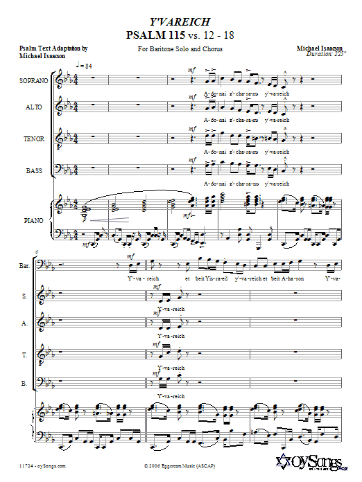 Y'vareich (Psalm 115) Sheet Music