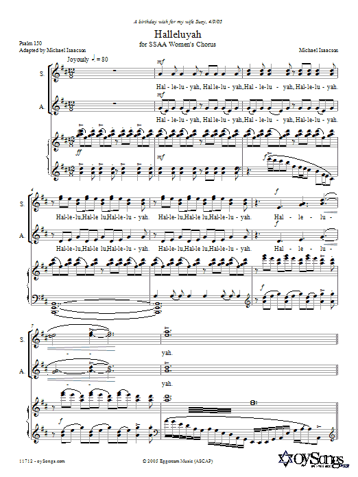 Halleluyah (Psalm 150) Sheet Music