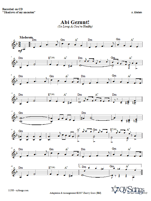 Abi Gezunt Sheet Music
