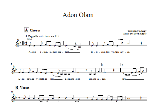 Adon Olam (Lead Sheet / Fake Book)