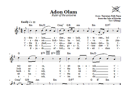 Adon Olam (Ruler Of The Universe) Sheet Music