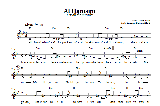 Al Hanisim (For All The Miracles) Sheet Music