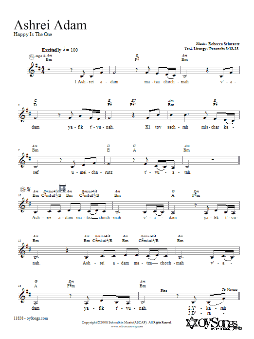Ashrei Adam Sheet Music