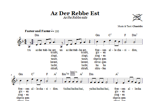 Az Der Rebbe Est (As The Rebbe Eats) Sheet Music