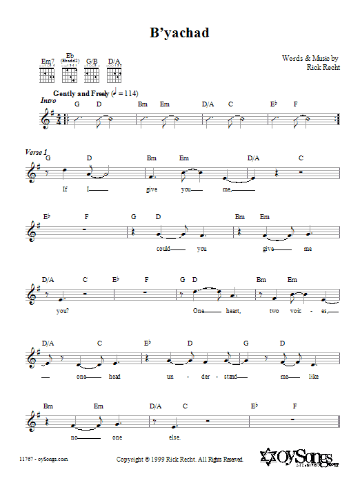 B'yachad Sheet Music