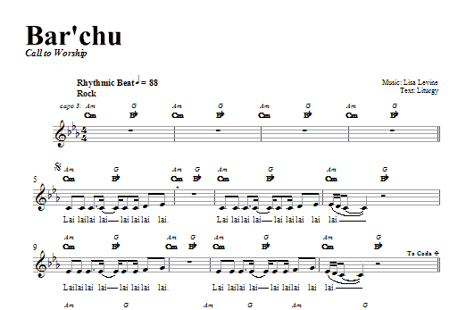Bar'chu (Lead Sheet / Fake Book)