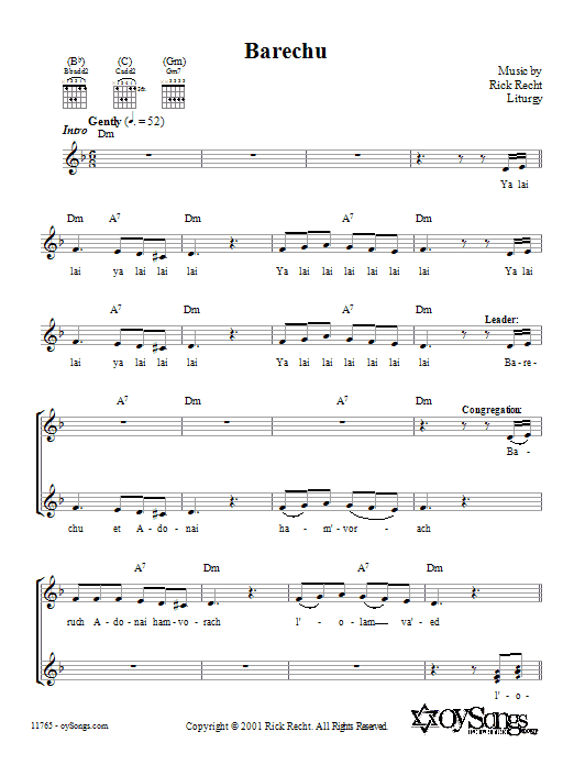 Barechu Sheet Music