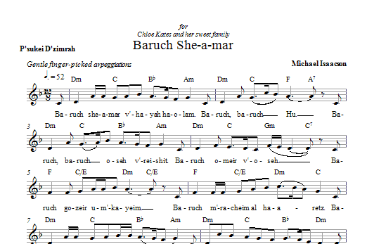 Baruch She-a-mar Sheet Music