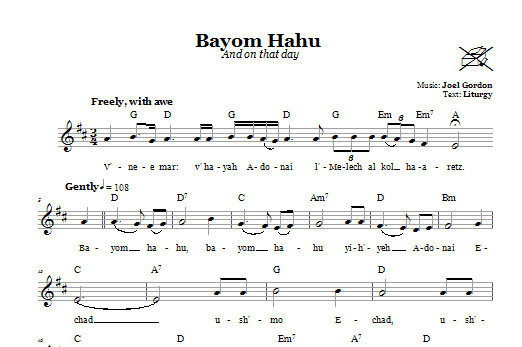 Bayom Hahu (And On That Day) Sheet Music