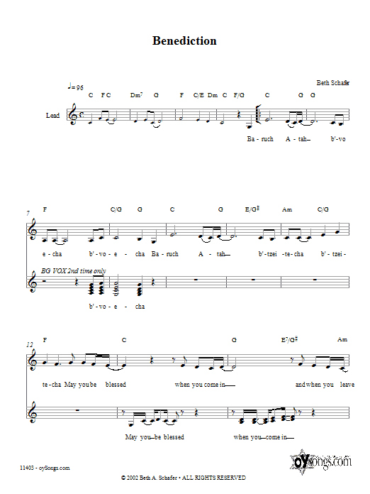 Benediction Sheet Music