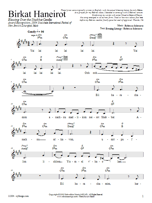 Birkat HaNeirot Sheet Music
