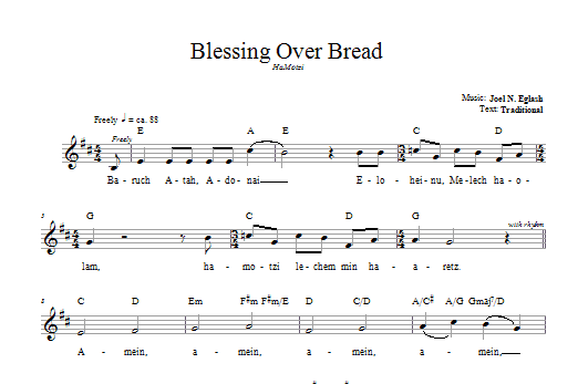 Blessing Over Bread (HaMotzi) Sheet Music