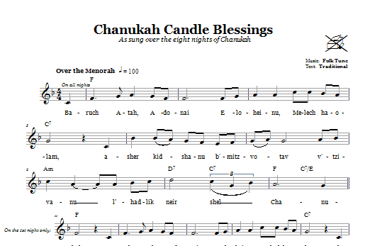 Chanukah Candle Blessings Sheet Music