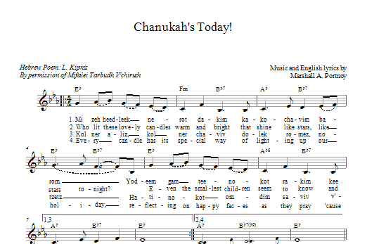 Chanukah's Today (Lead Sheet / Fake Book)