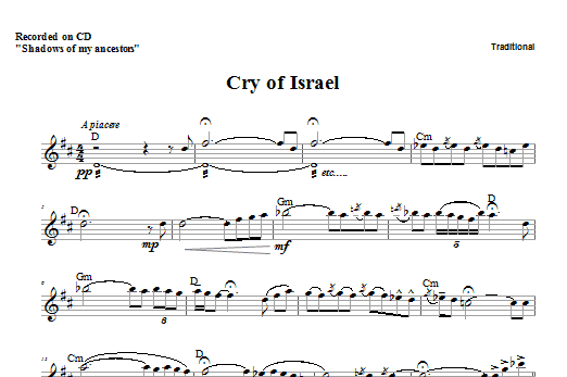 Cry of Israel (Lead Sheet / Fake Book)