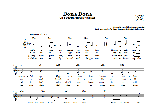 Dona Dona (On A Wagon Bound For Market) Sheet Music