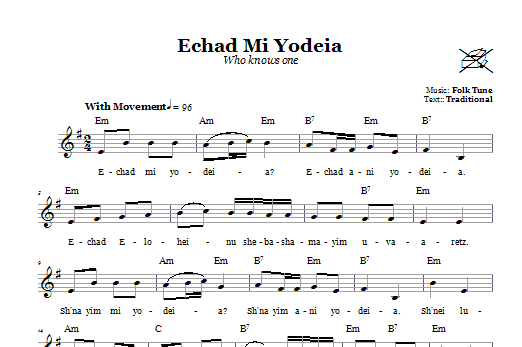 Echad Mi Yodeia (Who Knows One) (Lead Sheet / Fake Book)