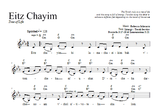 Eitz Chayim (Lead Sheet / Fake Book)