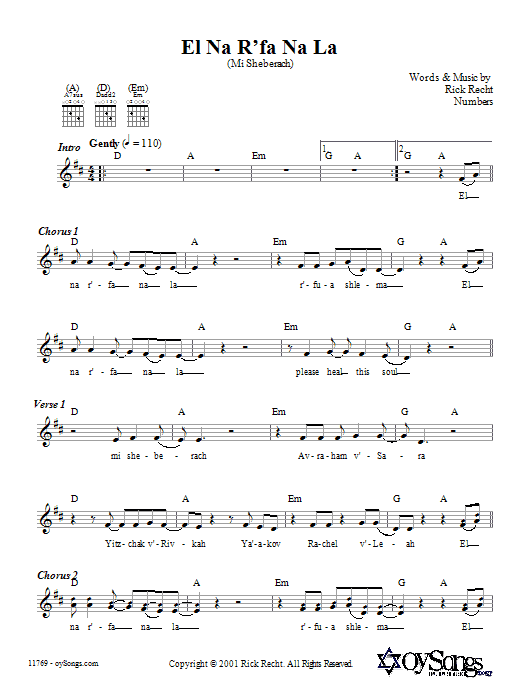 El Na R'fa Na La (Mi Sheberach) Sheet Music