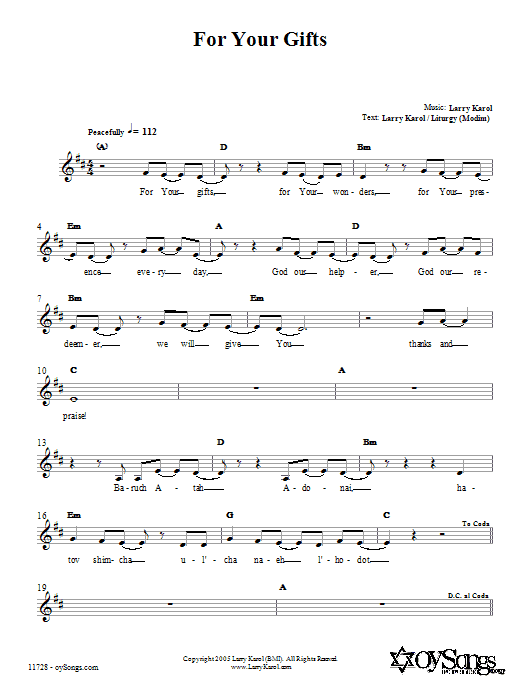 For Your Gifts (Lead Sheet / Fake Book)