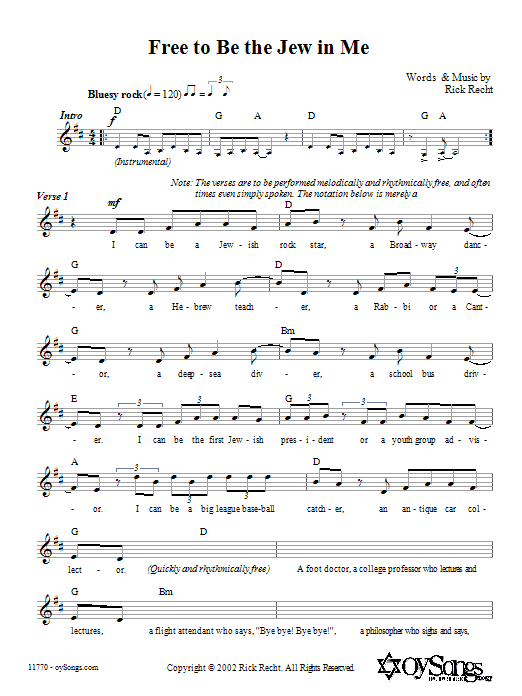 Free To Be The Jew In Me Sheet Music