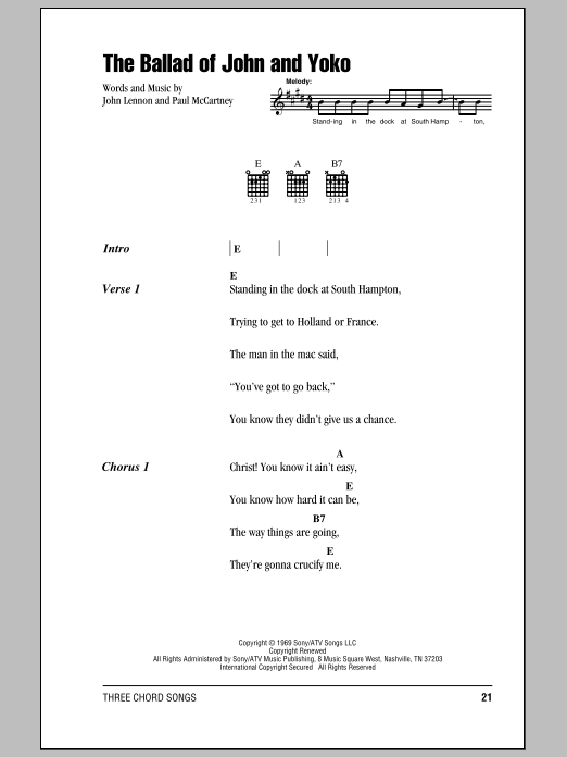 The Ballad Of John And Yoko (Guitar Chords/Lyrics)