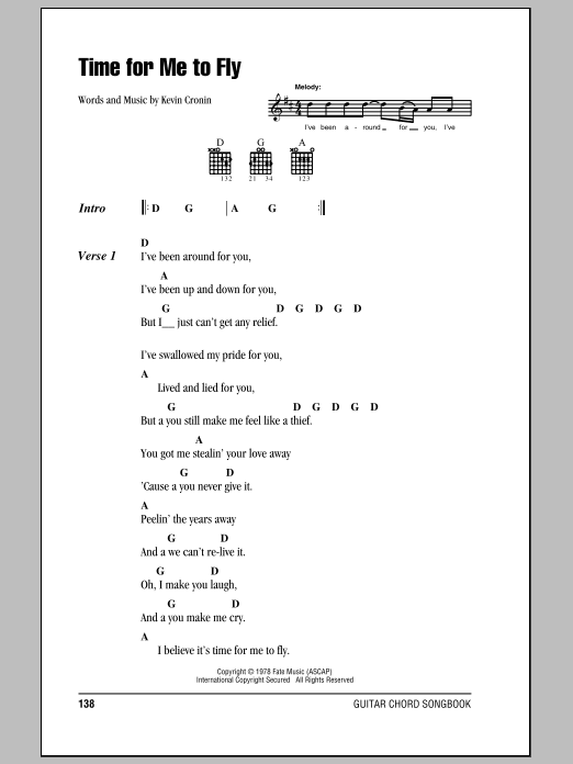 Time For Me To Fly (Guitar Chords/Lyrics)