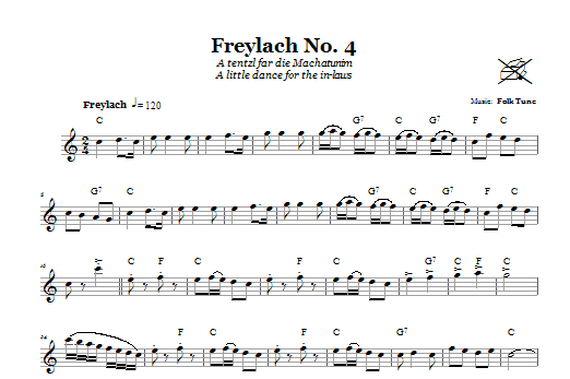Freylach No. 4 (A Tentzl Far Die Machantunim (A Little Dance For The In-Laws)) (Lead Sheet / Fake Book)