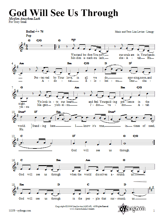 God Will See Us Through Sheet Music