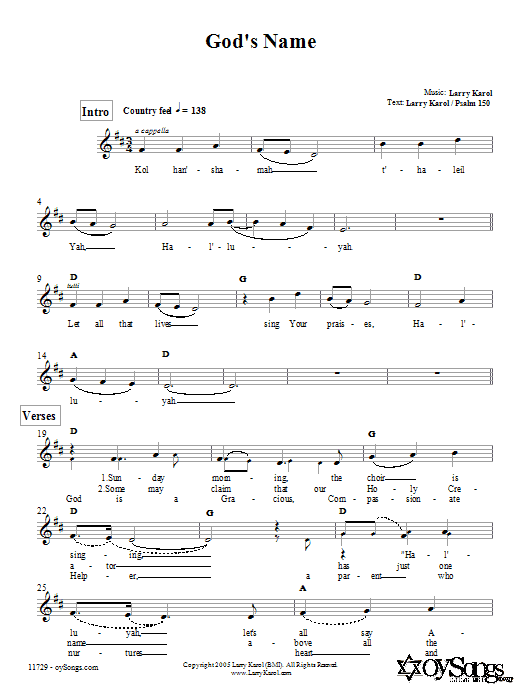 God's Name Sheet Music