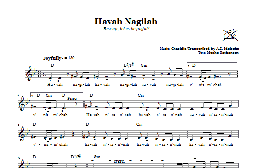 Havah Nagilah (Rise Up; Let Us Be Joyful!) Sheet Music